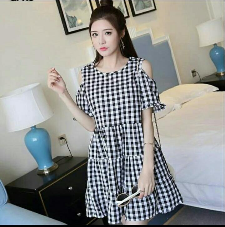 AG Apparel Dress Siska Kotak Hitam / Dress Wanita / Fashion Wanita / Atasan Wanita / Baju Kekinian / Dress Kaos Wanita / Dress T-shirt Wanita / Gaun Kaos Wanita / Atasan Murah / Dress Santai Wanita / Gaun Remaja / Gaun Kasual / Dress Casual Wanita / Dress
