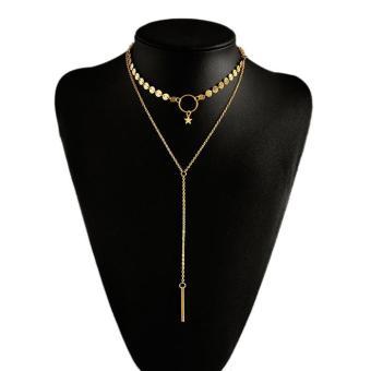 Bandingkan Toko OILA Kalung Panjang Multi Layer Bintang Fashion Jewelry Simple Stars Jka144 sale - Hanya