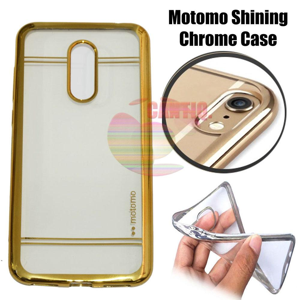 Motomo Chrome Xiaomi Redmi 5 Plus Shining Chrome / Silikon Xiaomi Redmi 5 Plus Shining List Chrome / Ultrahin Xiaomi Redmi 5 Plus List Chrome Jelly Case / Silicone Shinning / Case Xiaomi Redmi 5+ / Soft Case / Casing Hp - Gold