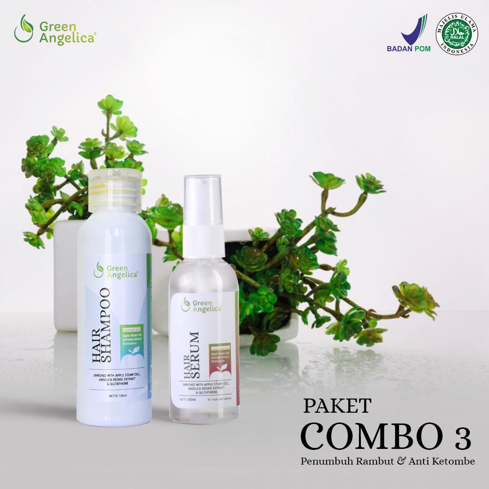 Green Angelica - Paket Combo 3 (Shampo+Serum) - Shampo Anti Ketombe, Cegah Rontok dan Kebotakan Permanen
