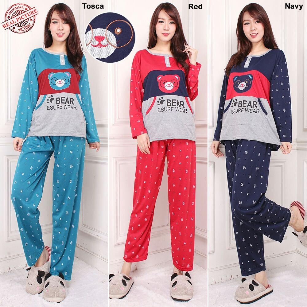 168 Collection Stelan Baju Tidur Giffrin dan Celana Panjang Jumbo Wanita