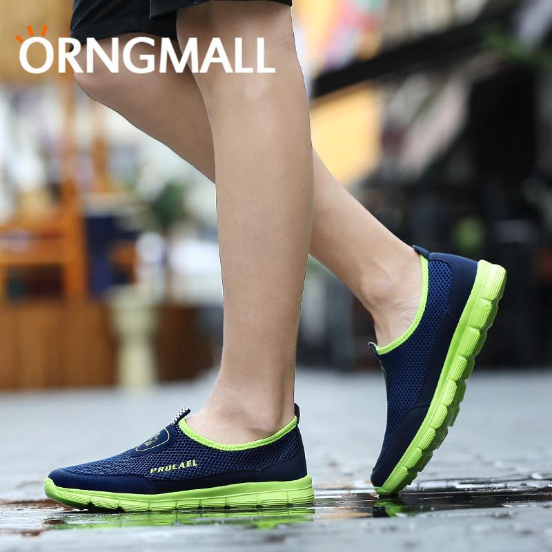 ORNGMALL Mode Musim Panas Sepatu Pria Kasual Air Mesh Sepatu Ukuran Besar  39-45 Ringan 9fa96f4e17
