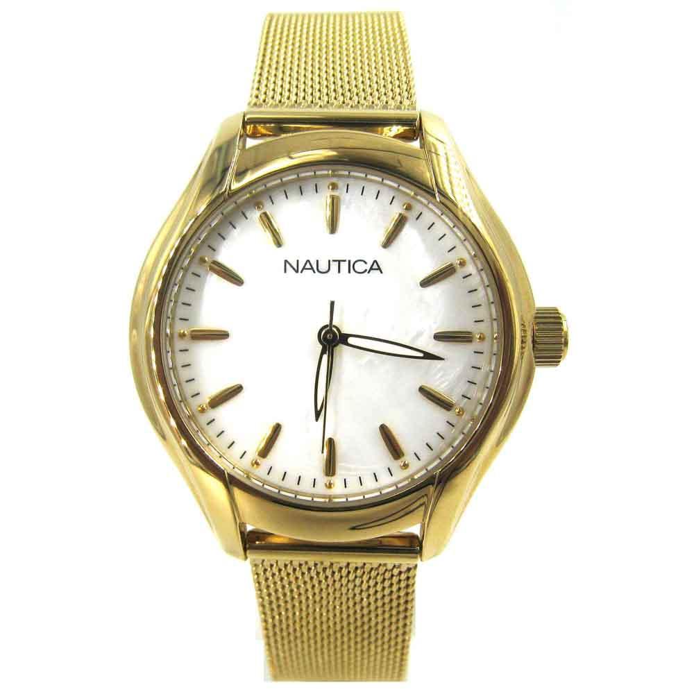 Nautica - Jam Tangan Wanita - Gold-Putih-Tali Pasir Gold - Stainless Steel - NAD12546L
