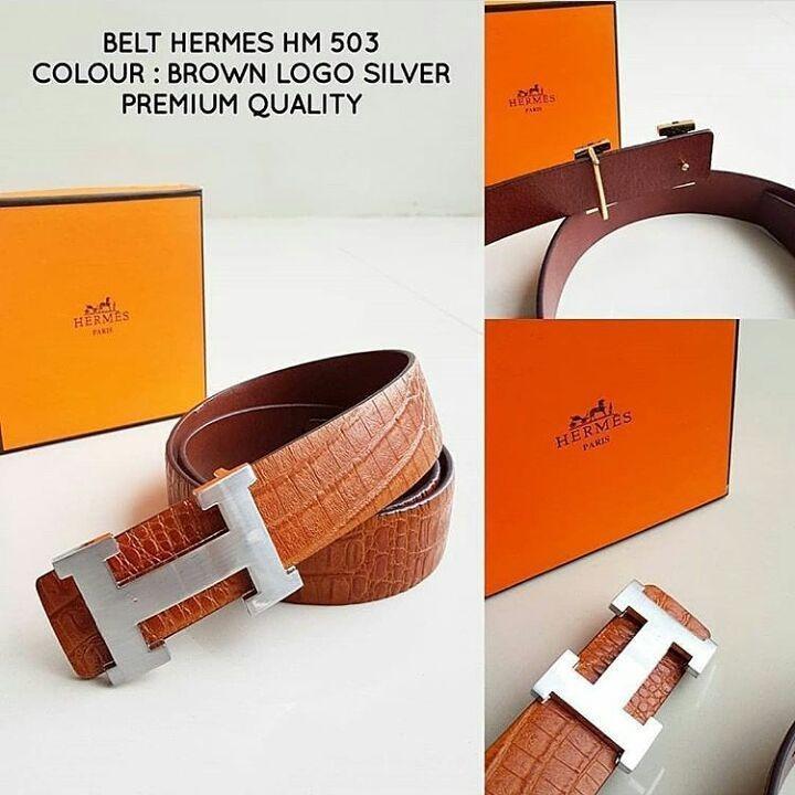 Ikat Pinggang Hermes HM 503 Brown Logo Silver
