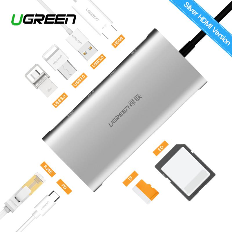 UGREEN Type C Hub 8 in 1 with VGA, PD Charging Port, 3-Port USB 3.0, SD/TF Card Reader 1080P Multiport Adapter Dock Station Dark Grey