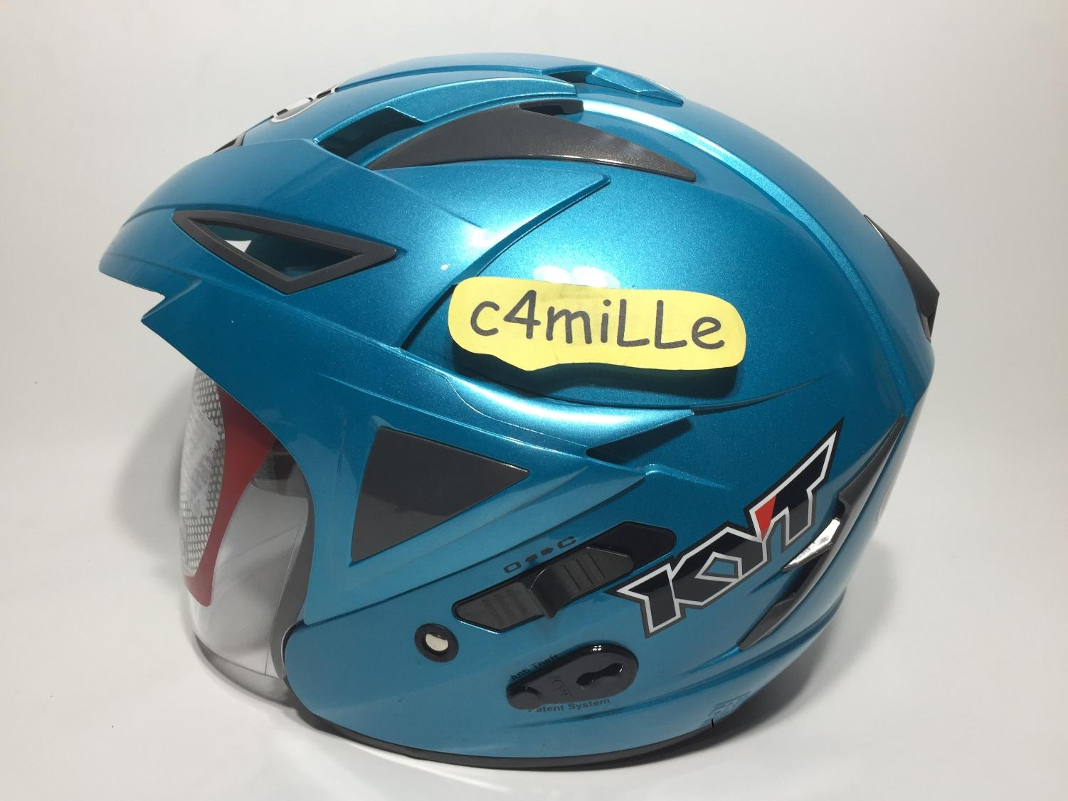 HELM KYT SCORPION KING SOLID ICE BLUE DOUBLE VISOR HALF FACE SIZE M