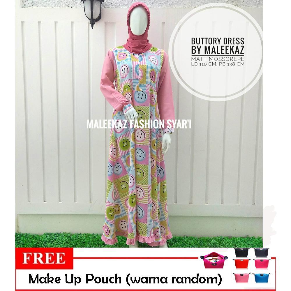 Promo..!!! Free Make Up Pouch - MaleekaZ Fashion Syar'i / Gamis Syari Busui Motif / Baju Muslim Wanita Syar'i / Gaun Pesta Muslimah / Maxi Dress Lengan Panjang - Buttory Dress - Pink