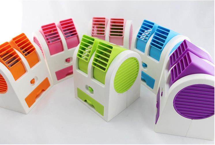 Zero Com - AC Duduk Mini Double Blower Pendingin Menggunakan Es Batu/Kipas USB/Kipas Angin Mini - Barang Sesuai Gambar