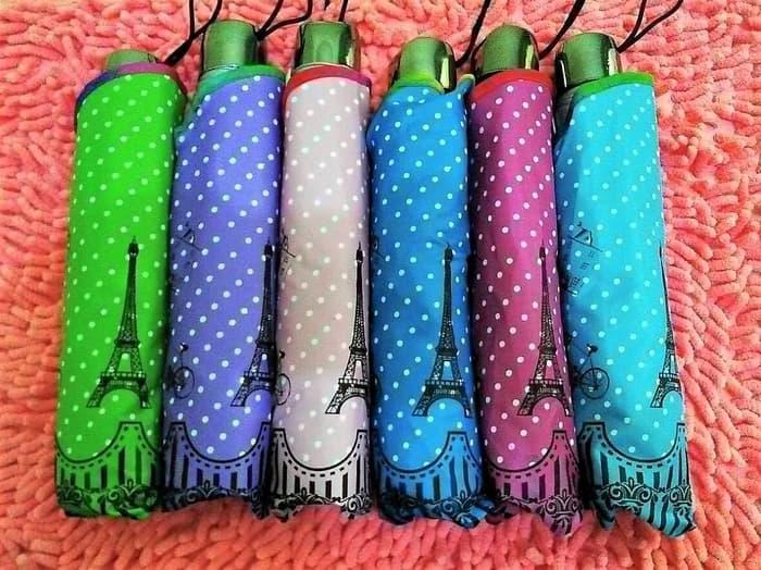 Payung lipat 3 polkadot eiffel OSAKA aneka warna