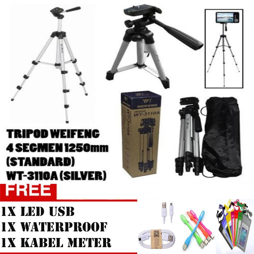 Tripod Weifeng WT3110A untuk Camdig, Handycam, DSLR dan Hp + Holder U+ kabel 1 meter+led usb +waterproof