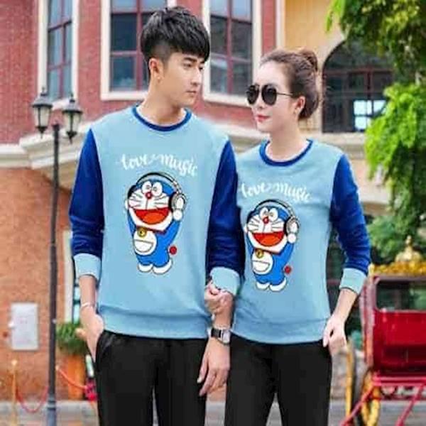 [Couple Sweater Doraemon Biru Soft Benhur LO] Couple Sweater Babyterry