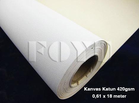 Kain Kanvas Katun Tebal Waterproof Glossy Digital Printing 420gsm L-24Inx18M