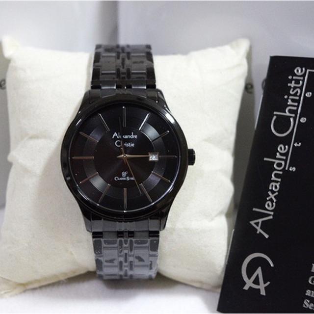 Jam Tangan Pria/Cowok Alexandre Christie AC 8348 Full Black.Original Garansi Resmi 1 Tahun