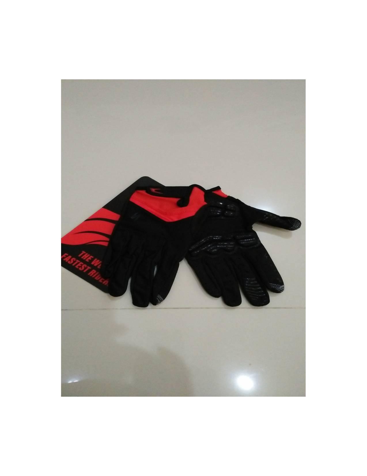 Promo Sarung Tangan Gel Specialized Full Finger Warna Hitam List Merah