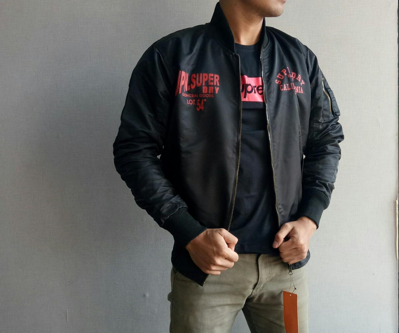 the most - Jaket Bomber Hitam / Navy Pria Casual Fashion jaket Bomber Murah Jaket Bomber Terlaris B