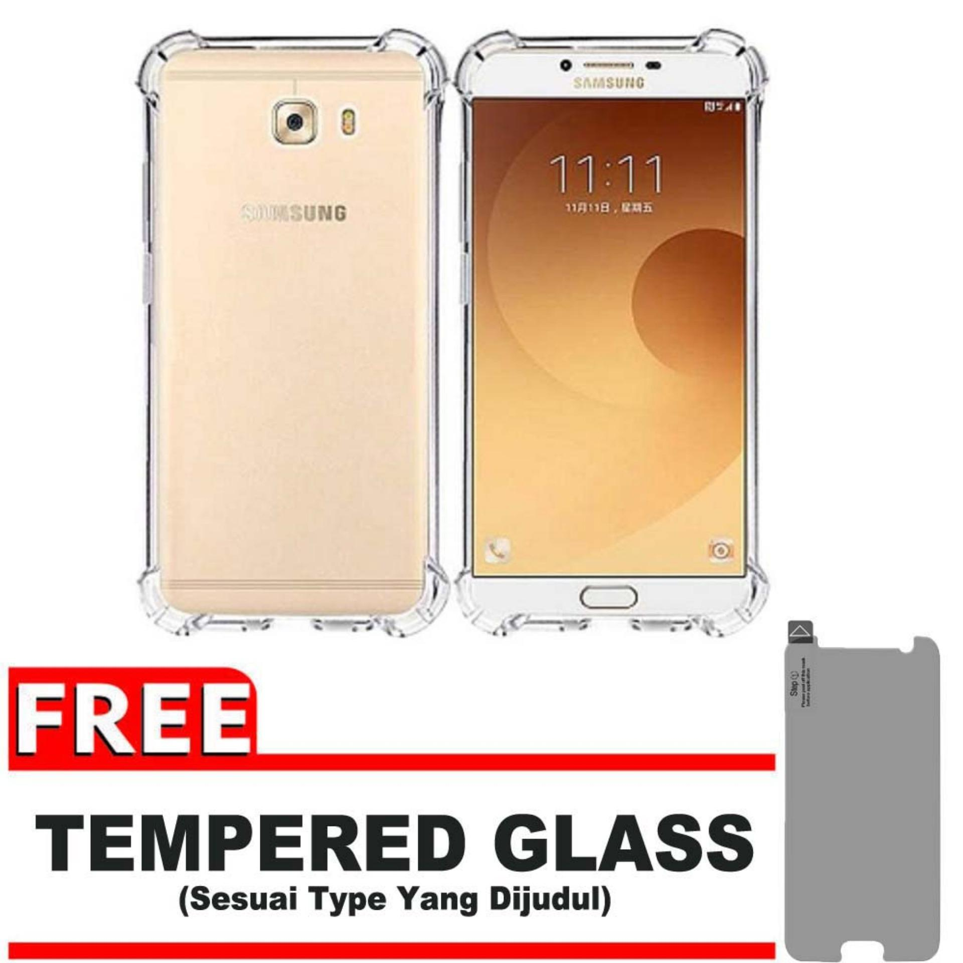 ShockCase for Samsung Galaxy C9 Pro / 4G LTE / Duos | Premium Softcase Jelly Anti Crack Shockproof - Gratis Free Tempered Glass Protector - Transparan
