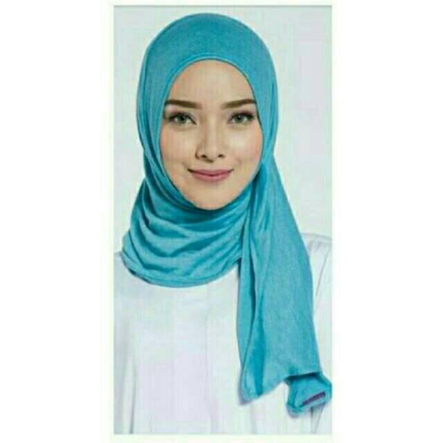 Selvia Namira Pasmina Elzatta Bahan Kaos ((532)biru pucat)