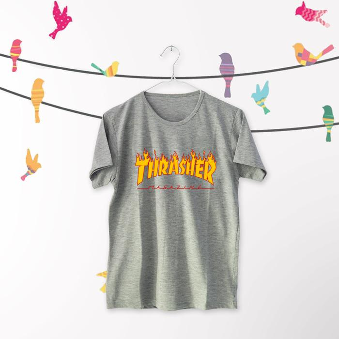 Rp 70.000. OBRAL Tumblr Tee \\u002F T-Shirt \\u002F Kaos Wanita Lengan Pendek Thrasher Warna AbuIDR70000