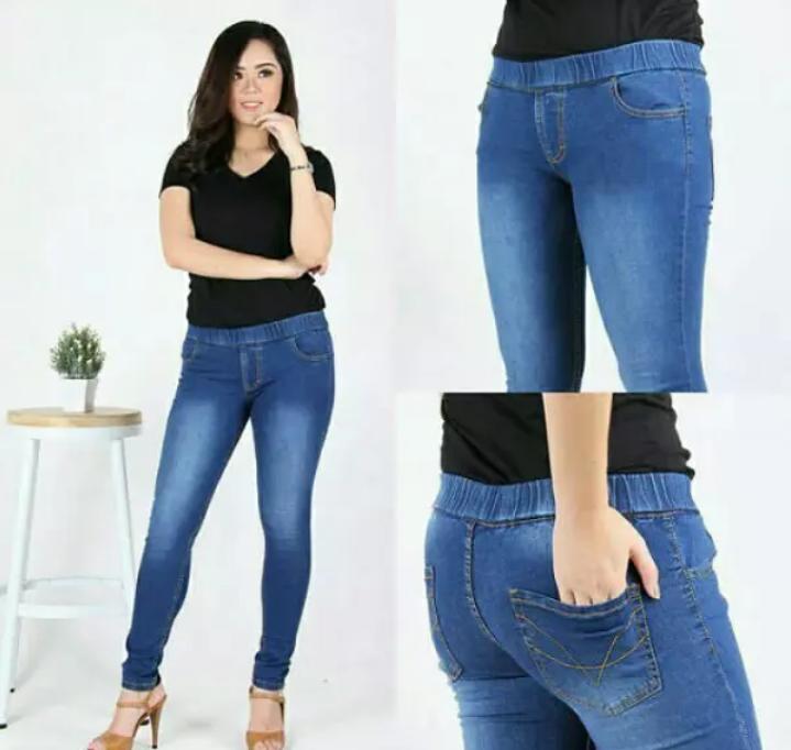 Celana Legging Pinggang Karet Jeans Jumbo Wanita Size 31 - 38 Hitam 65d9a1e6a2