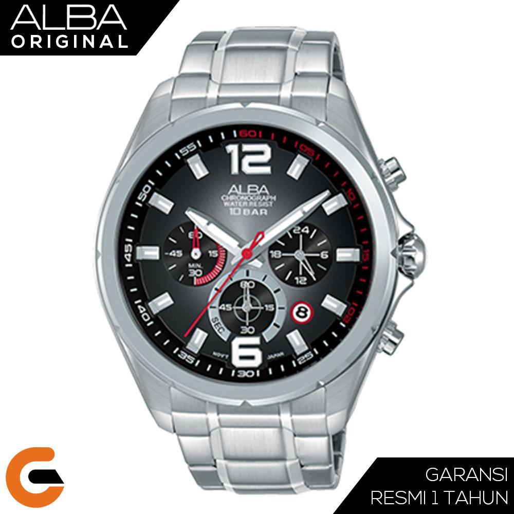 Alba Chronograph Jam Tangan Pria Black Dial Stainless Steel Case Leather Strap AT3B Series