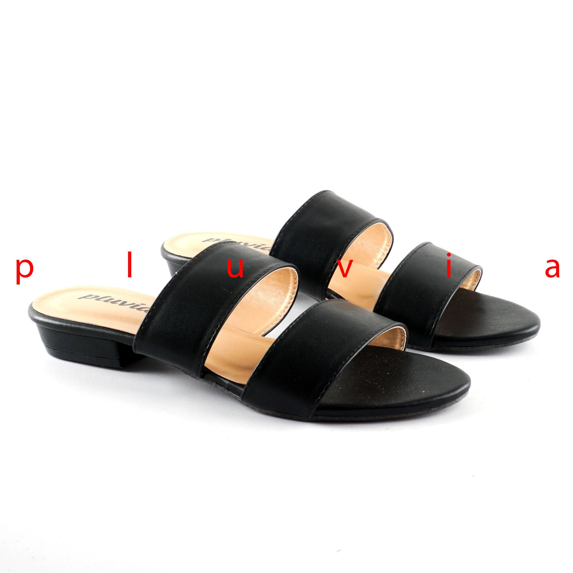 Pluvia - Sandal Sendal Flat Wanita Mules Double Strap DM03 - Hitam