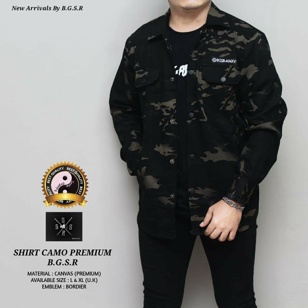 Adiwena Grosir Jaket camo premium bordir suede bgsr simple pria best seller - hitam - black