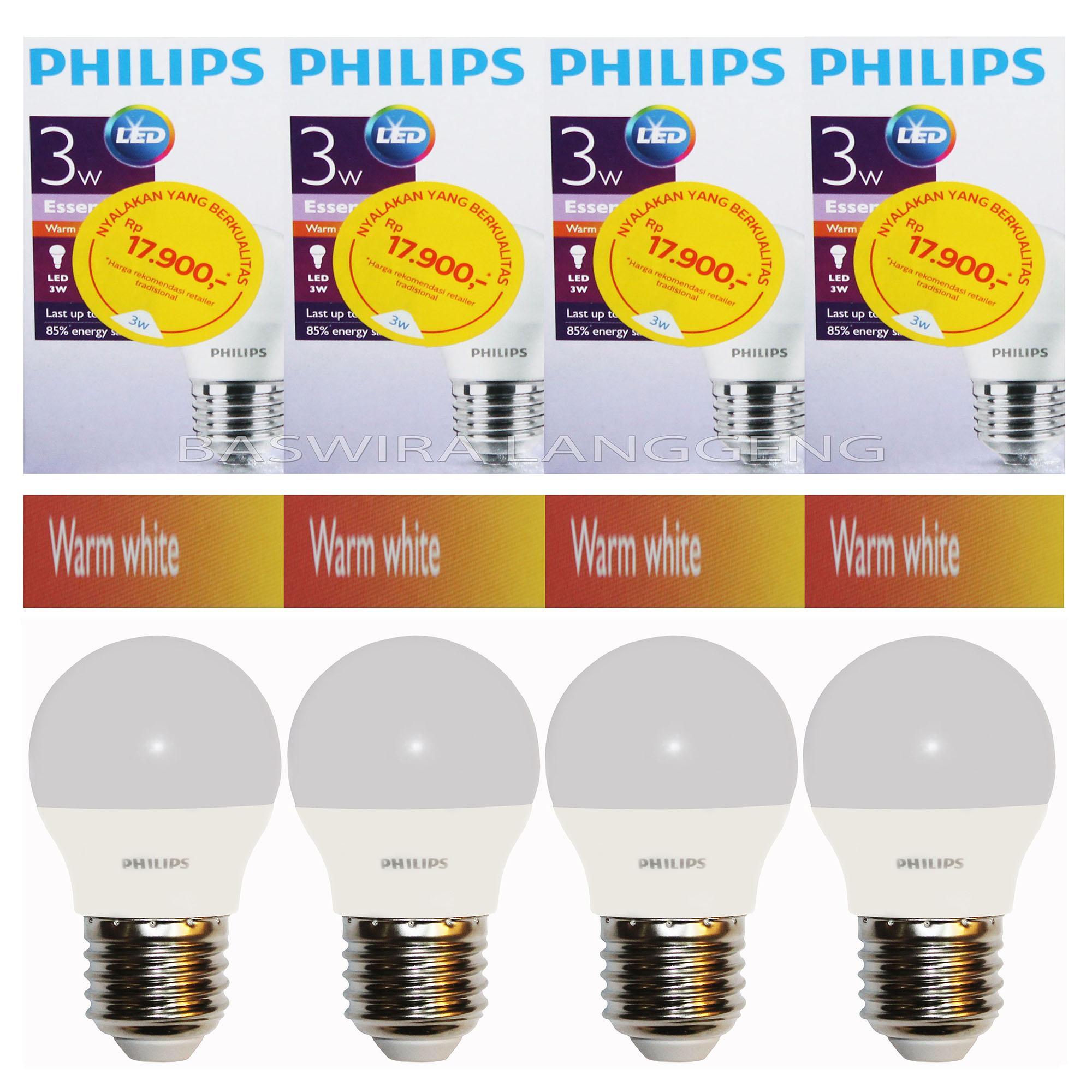 PHILIPS Lampu Led Bulb ESSENTIAL 3W 3Watt 3 W 3 Wat (PAKET 4 PCS)