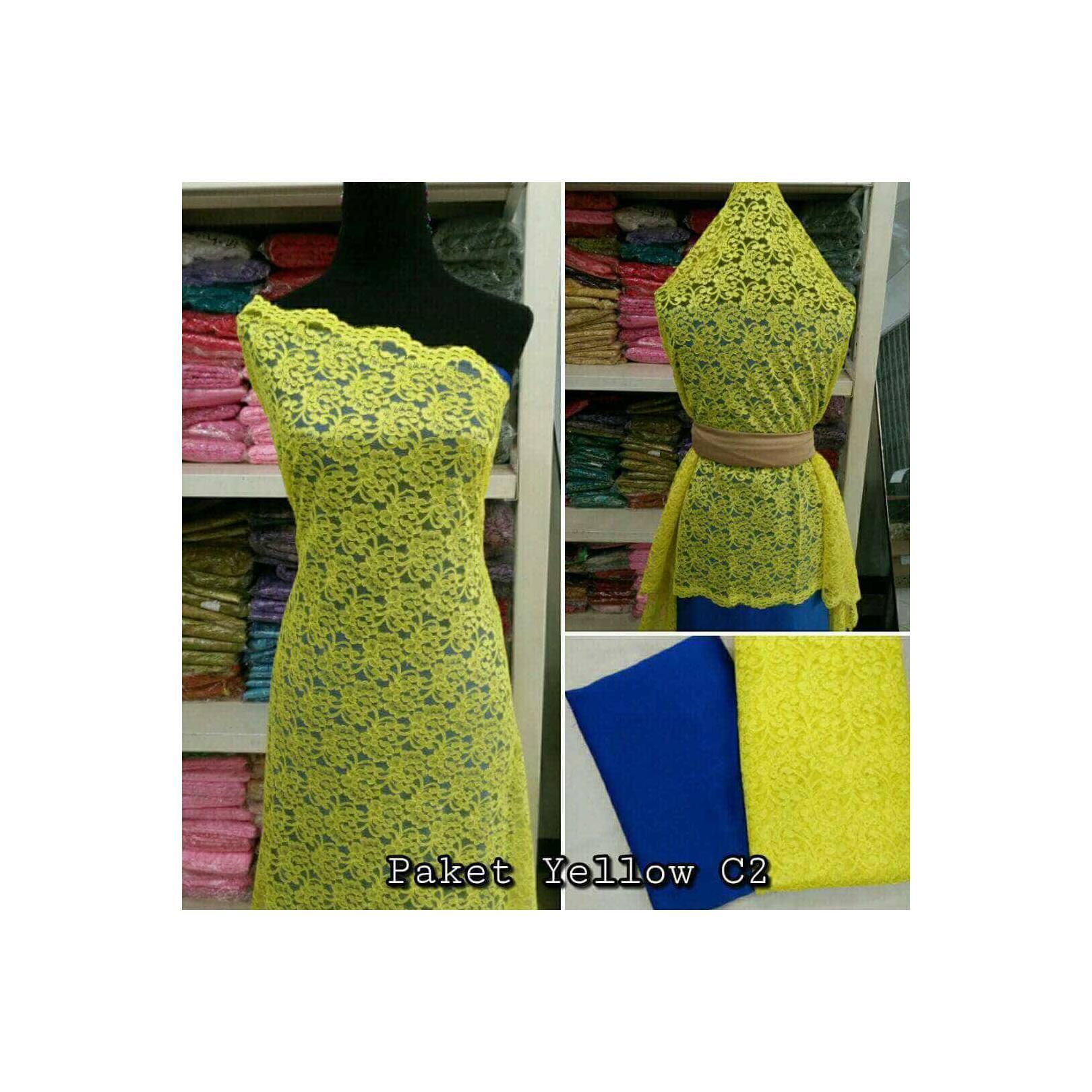 Brokat Brukat Bahan Kain Kebaya Dress Gaun Gamis Couple Paket Yello C2