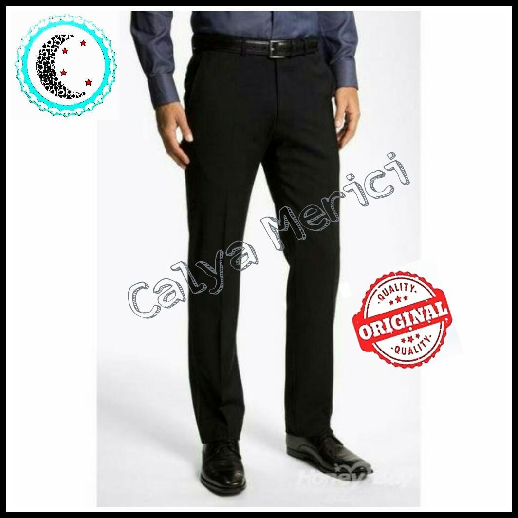 Calya Merici Celana Panjang Formal Pria Reguler Fit Kantor Hitam Bahan Kain Twist 27-44 Calya