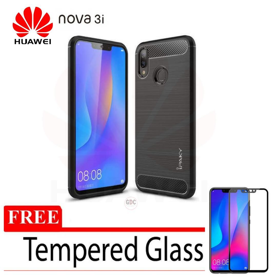 Case Huawei Nova 3i Ipaky Carbon Soft Series GRATIS Tempered Glass HITAM