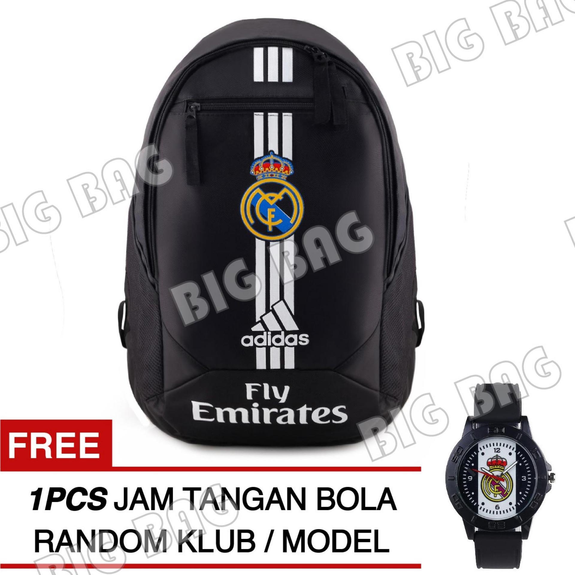 Tas Ransel Adidas Bola Pria Real Madrid C.F Laptop Backpack Men Soccer Editions - Black + Raincover + FREE Jam Tangan  Pria Random Color / Model