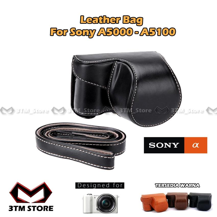 Leather Bag Sony Alpha A5000 A5100 Case Bag Mirrorless Sarung Kulit