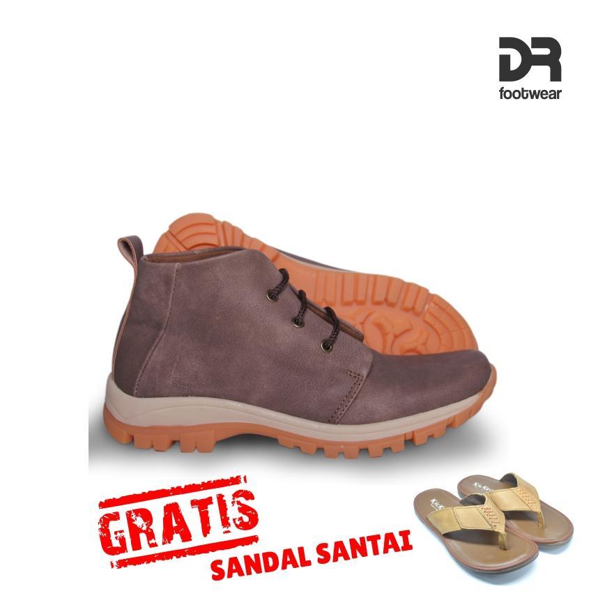 DR Footwear CLIFFORD BROWN Bonus GRATIS SANDAL / Sepatu Pria / Boots / sepatu casual / sepatu murah / sepatu santai / sepatu kets / fashion pria