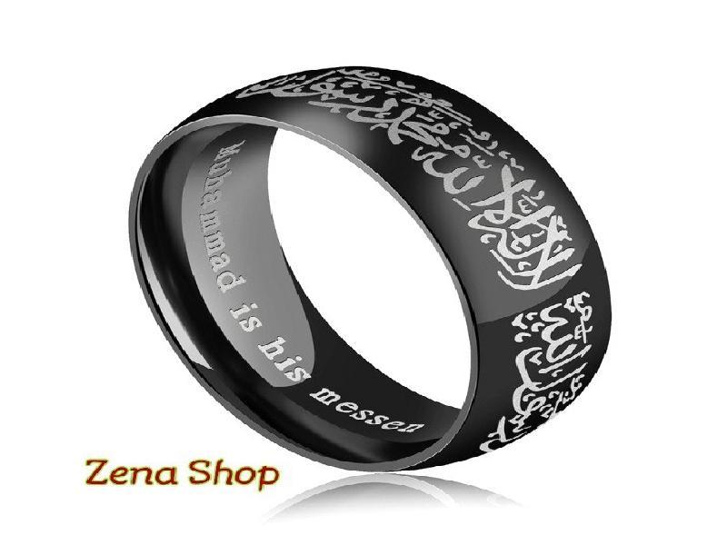 Cincin Pria Wanita Titanium Exlusive Kalimat Syahadat Kaligrafi Arab..... Zena Shop