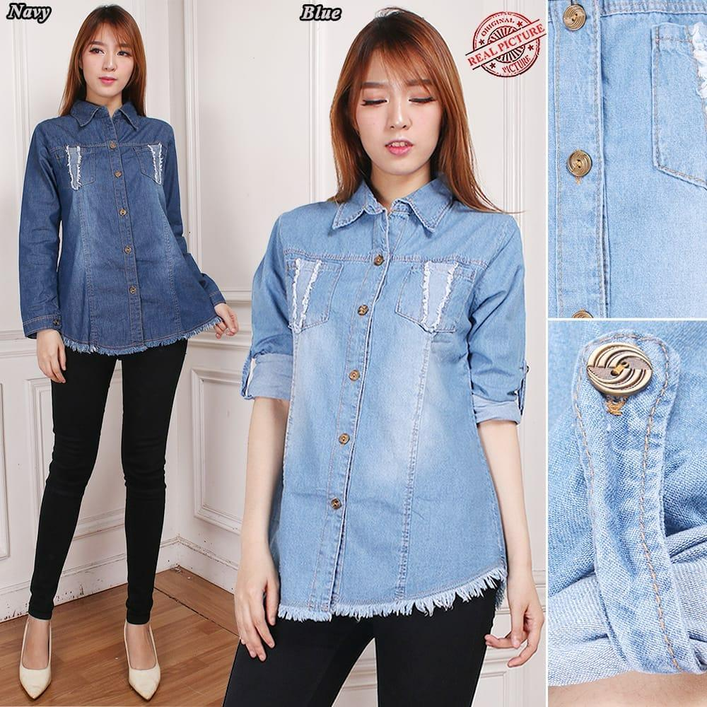 Glow fashion Atasan blouse kemeja jeans wanita jumbo shirt Rista