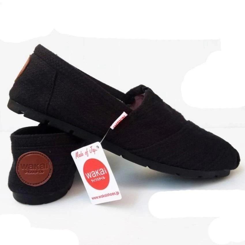 yersi store  Sepatu unisex sepatu pria sepatu wanita sepatu wakai pria hitam, sepatu wanita wakai slip on loafer sepatu wanita wakai