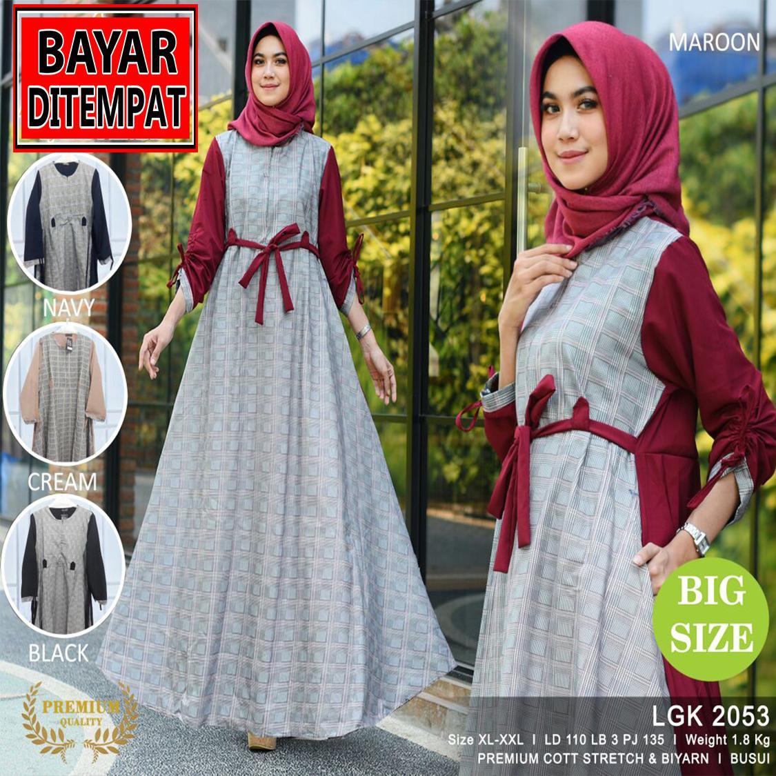 RATU SHOPPING Gamis jumbo size XL XXL Spesial lebaran baju muslim idul fitri ramadhan ceria LGK2053