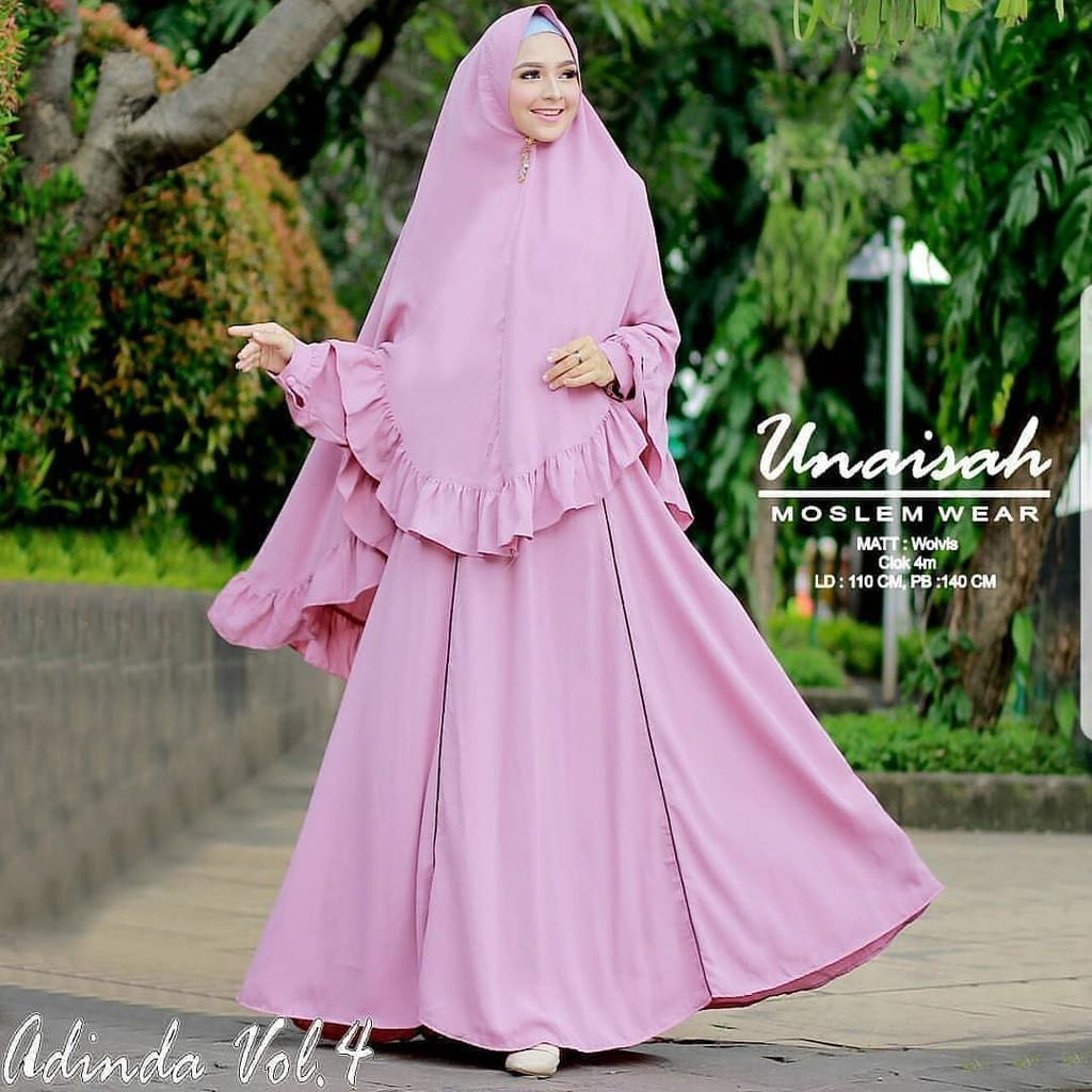 (TERBARU) Dress Muslim Murah Gamis Hijab ADINDA SYARI AQ001 Grosir Baju Wanita Bandung (Black)