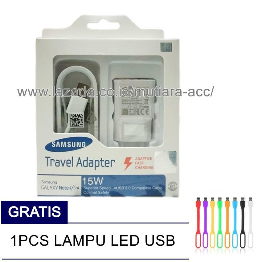 Samsung Original 100% Authentic Travel Adapter Charger / Casan / Carger 15W Adaptive Fast Charging Output 2.0Ampere USB 3.0 for Samsung Galaxy S4 / S5 / S6 / S7 / Edge / Note 4 / Note 5 - Putih + Free Led USB