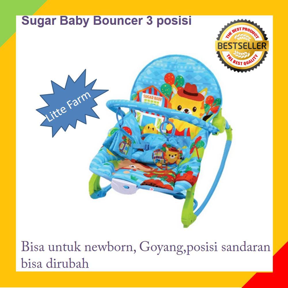 Bouncer Baby /Kursi goyang bayi /Kursi Santai Bayi/ Tempat Duduk Bayi Makan Bayi/  Sugar Baby Bouncer 3 posisi - warna Biru