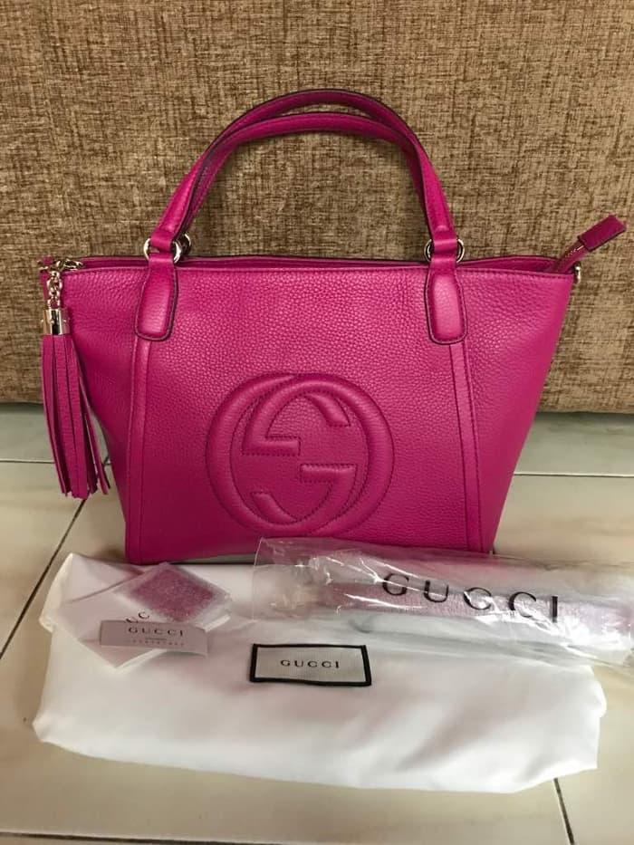 HOT SPESIAL!!! Tas Gucci Soho Interlock GG Top Handle Tote Fuchsia Pink Asli Ori - 0cBGtD