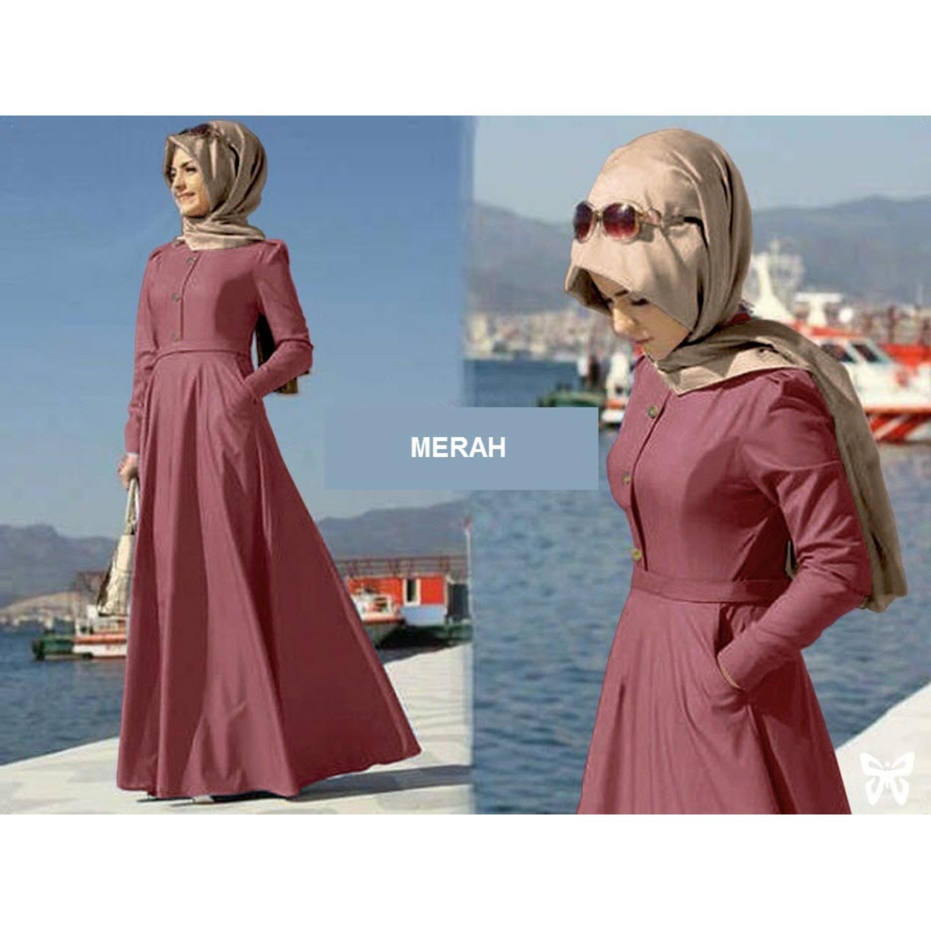 Flavia Store Maxi Dress Lengan Panjang Set 2 in 1 Busui MFS003 / Gamis Syari Polos / Gaun Muslimah / Baju Muslim Wanita Syar'i / Hijab / Sraida