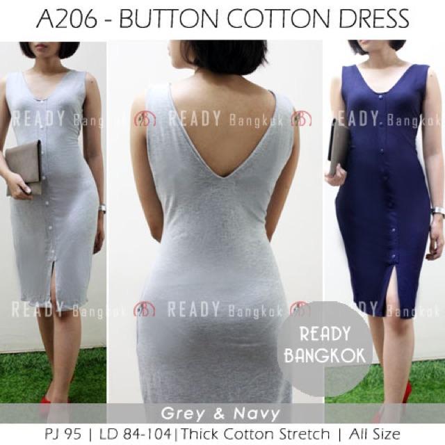 JUAL RUGI SALE PROMO Button Cotton WOMEN Dress WANITA HIGH QUALITY ALL SIZE STRETCH IMPORT BANGKOK