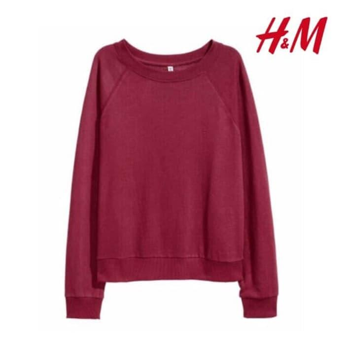 Sweater HnM H&M Basic Sweatshirt Maroon Original Wanita Cewe Murah / sweater2-0C535