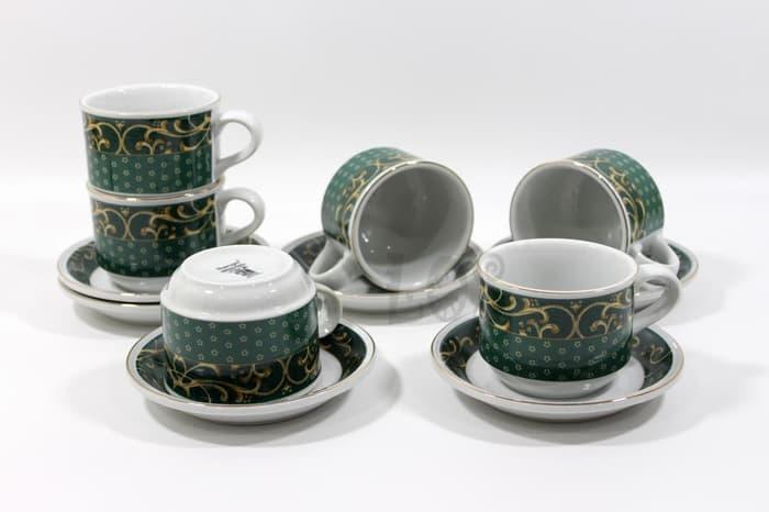 Cangkir Teh-Kopi Keramik SANGO CLASSIC GREEN 50347B (00143.00121) - peralatan dapur / gelas / piring makan / coffee maker / rice cooker / pisau dapur / sendok makan / oven / rak piring / termos  / setrika / teflon anti lengket / panci set / juicer