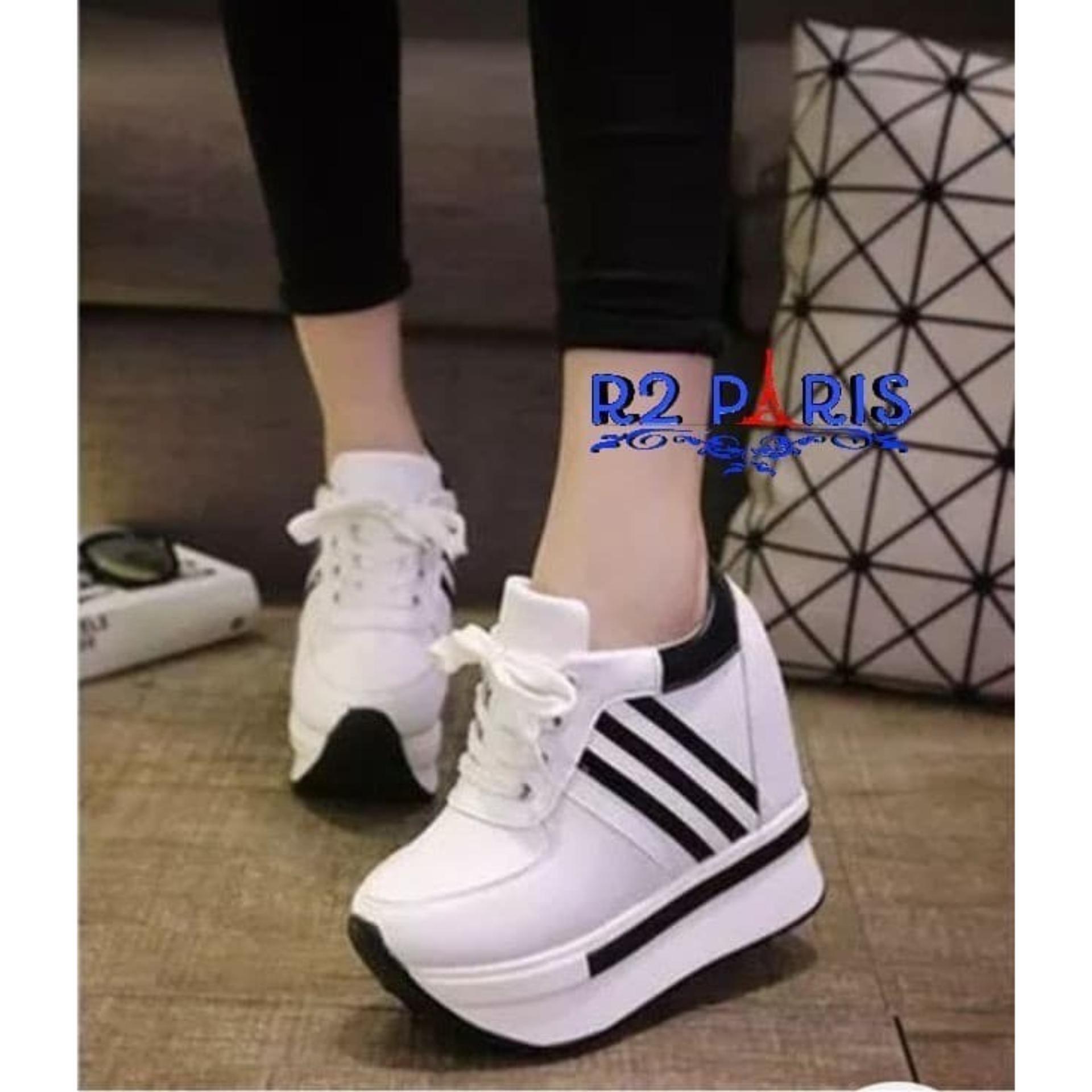 Sneakers Wedges Wanita Stripe Krisbow Hitam Putih - R2