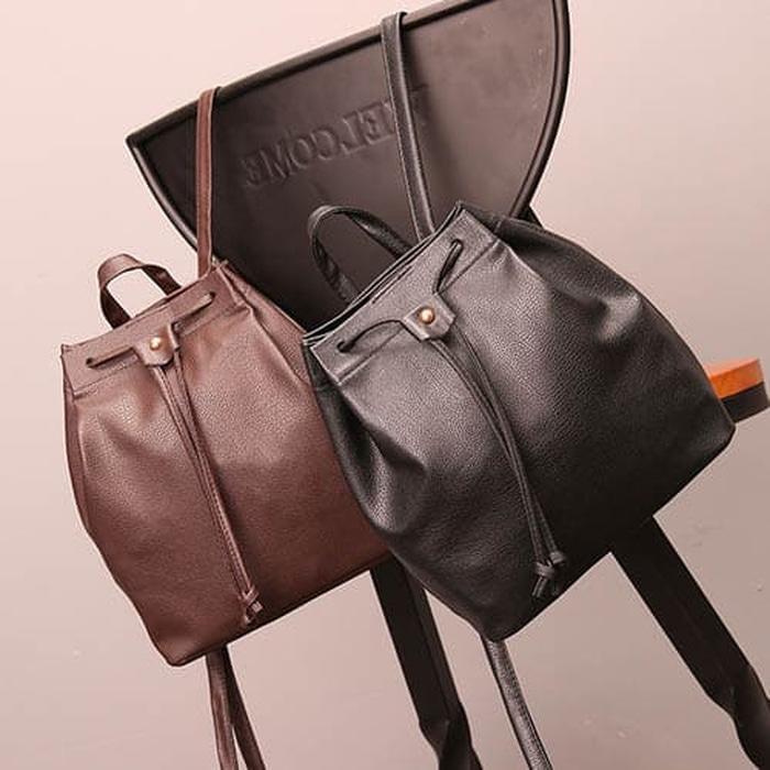 tas punggung ransel fashion wanita backpack kulit tali serut bta332 - Hitam - Tas Wanita Keren