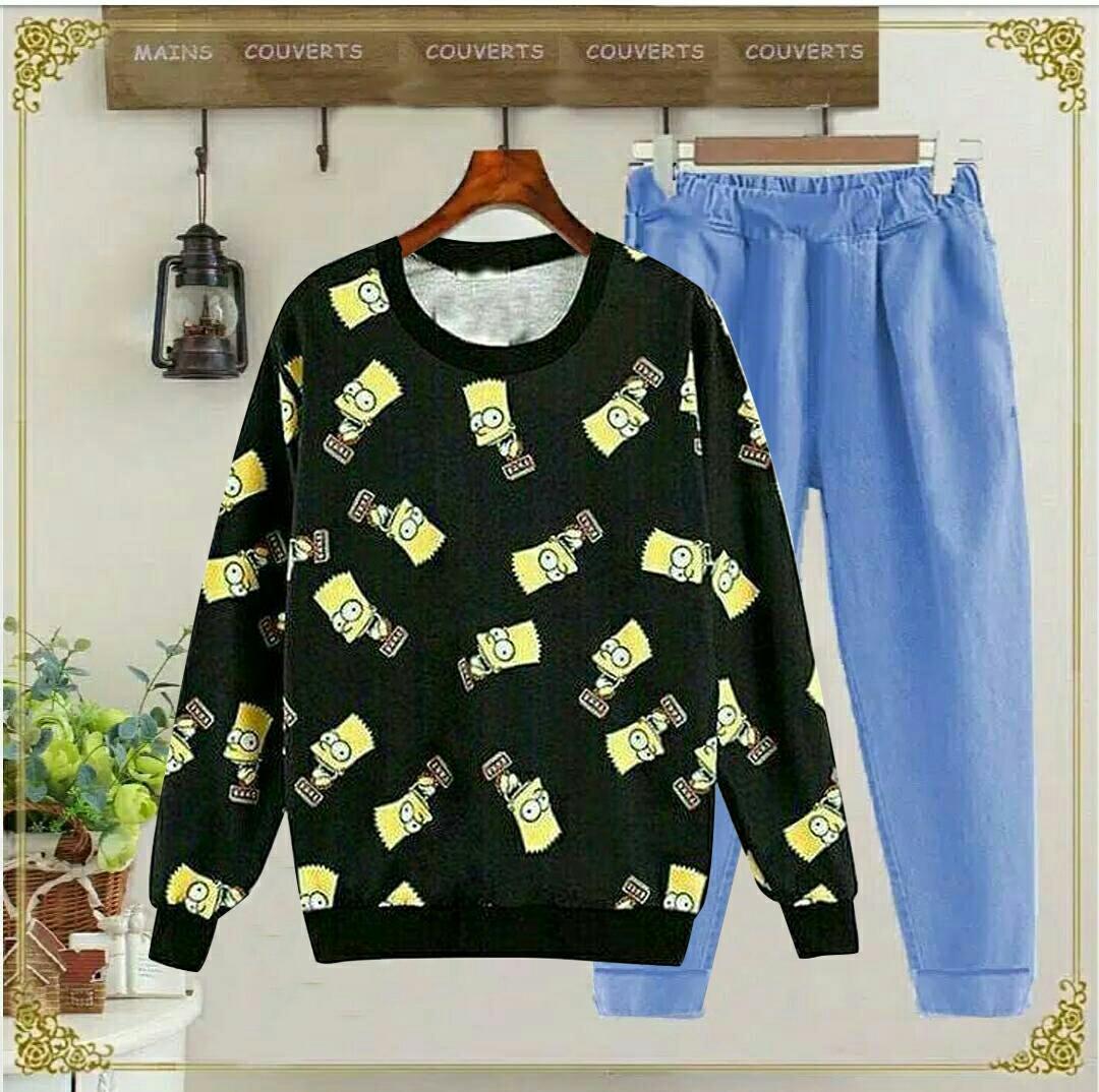 J&C Setelan Simson / Setelan Kaos Wanita / Baju Santai / Setelan Wanita / Kaos Cewek / Celana Panjang Wanita/ Kaos Panjang Wanita / Celana Joger Wanita / Setelan Celana Jogger