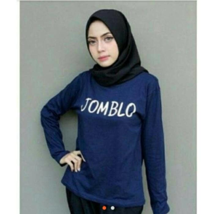MichelleStore T-shirt /Kaos Wanita / Tumblr Tee JOMBLO Long Sleeve - Navy