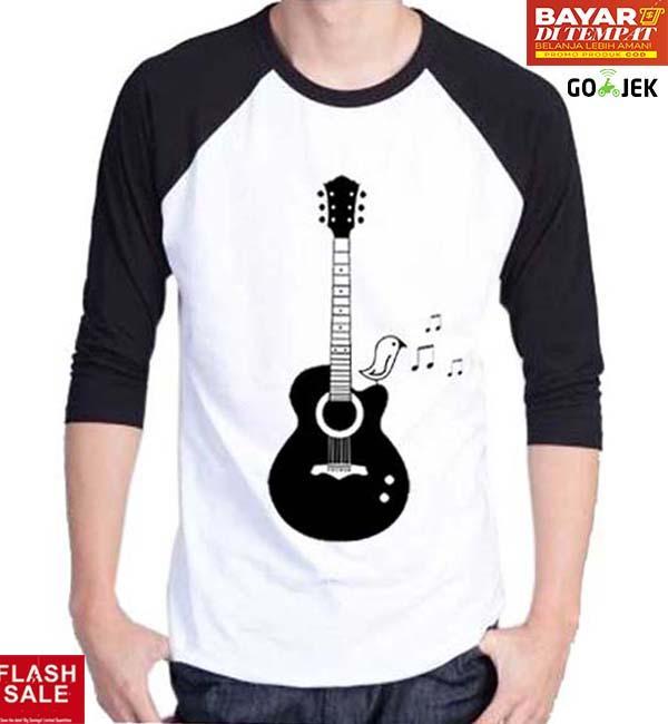 Sz Graphics T Shirt Raglan Pria /Guitar Melody/T Shirt Pria Wanita/Kaos Pria Wanita/T Shirt Fashion